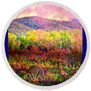 El Valle June Hay Days Nostalgia II Round Beach Towel by Anastasia Savage Ealy