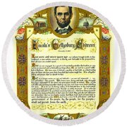 Round Beach Towel featuring the painting Elaborate Victorian Gettysburg Address Illuminated Manuscript With Lincoln Portrait by Peter Gumaer Ogden