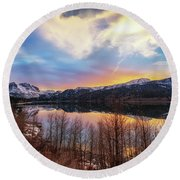 Round Beach Towel featuring the photograph Elevated by Tassanee Angiolillo