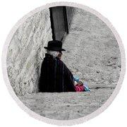 Round Beach Towel featuring the photograph Elderly Beggar In Chordeleg by Al Bourassa