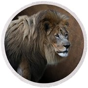 Elderly Gentleman Lion Round Beach Towel