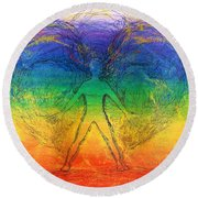 Round Beach Towel featuring the mixed media Electric Angel by Denise Fulmer