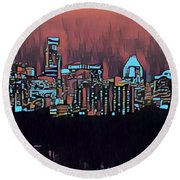 Electric Austin At Dusk Round Beach Towel