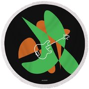 Electric Bass In Green Round Beach Towel