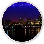 Electric Blue Round Beach Towel by Rob Green