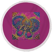 Electric Butterfly 2  Round Beach Towel