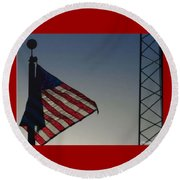 Electric Flag Round Beach Towel