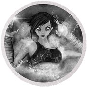 Electric Glitch - Black And White Fantasy Art Round Beach Towel