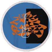 Electric Guitar In Blue Round Beach Towel