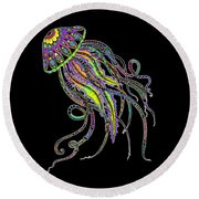 Round Beach Towel featuring the drawing Electric Jellyfish On Black by Tammy Wetzel