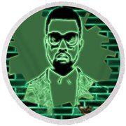Electric Kanye West Graphic Round Beach Towel by Dan Sproul