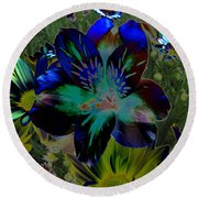 Round Beach Towel featuring the photograph Electric Lily by Greg Patzer