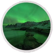 Round Beach Towel featuring the photograph Electric Night by Alex Lapidus