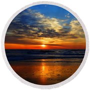 Electric Golden Ocean Sunrise Round Beach Towel