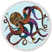 Electric Octopus - Customizable Background Round Beach Towel by Tammy Wetzel
