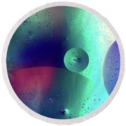 Round Beach Towel featuring the photograph Electric Oil Droplets Number One by John Williams