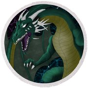 Electric Portal Dragon Round Beach Towel