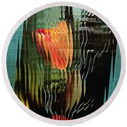 Electric Tulip 2 Round Beach Towel by Sarah Loft