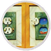 Electric View Miniature Shown Closed And Open Round Beach Towel