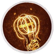 Round Beach Towel featuring the photograph Electricity Through Tungsten by T Brian Jones