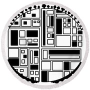 Electronic City Round Beach Towel