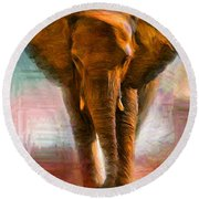 Elephant 1 Round Beach Towel