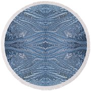 Elegant Blues Frosty Window Design Round Beach Towel by Joy Nichols
