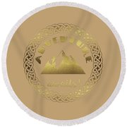 Round Beach Towel featuring the digital art Elegant Gold Foil Adventure Awaits Typography Celtic Knot by Georgeta Blanaru