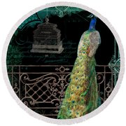 Elegant Peacock Iron Fence W Vintage Scrolls 4 Round Beach Towel by Audrey Jeanne Roberts