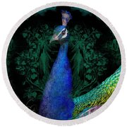 Elegant Peacock W Vintage Scrolls  Round Beach Towel by Audrey Jeanne Roberts