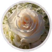 Elegant White Roses Round Beach Towel by Cynthia Guinn
