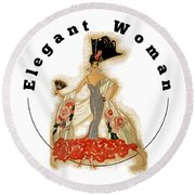 Elegant Woman Round Beach Towel