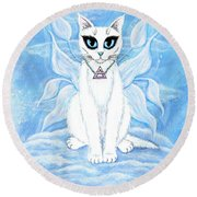 Elemental Air Fairy Cat Round Beach Towel