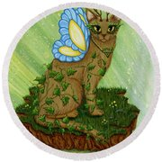 Elemental Earth Fairy Cat Round Beach Towel