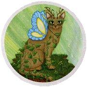 Elemental Earth Fairy Cat Round Beach Towel