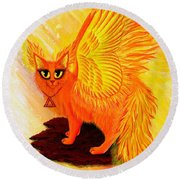 Elemental Fire Fairy Cat Round Beach Towel