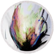 Elemental In Color Abstract Painting Round Beach Towel by Lisa Kaiser