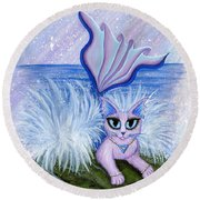 Elemental Water Mermaid Cat Round Beach Towel