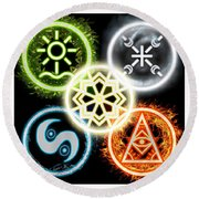 Round Beach Towel featuring the digital art Elements Of Nature by Shawn Dall