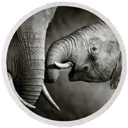 Elephant Affection Round Beach Towel