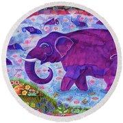 Elephant And Mice Round Beach Towel