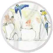 Elephant And Parrots Round Beach Towel by Juan Bosco
