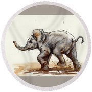 Round Beach Towel featuring the painting Elephant Baby At Play by Margaret Stockdale
