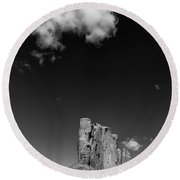 Elephant Butte In Black And White Round Beach Towel by David Cote
