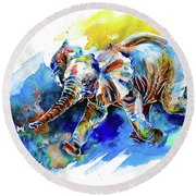 Round Beach Towel featuring the painting Elephant Calf Playing With Butterfly by Zaira Dzhaubaeva