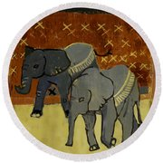 Elephant Calves Round Beach Towel