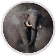 Round Beach Towel featuring the digital art Elephant by Daniel Eskridge