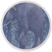 Elephant Facing Left Round Beach Towel