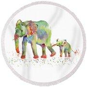 Elephant Family Watercolor  Round Beach Towel