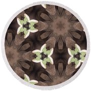 Elephant Flowers Round Beach Towel by Maria Watt